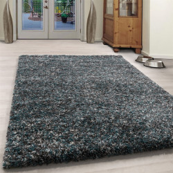 Wohnzimmer Shaggy Teppich Hochwertig  Hochflor Blau Grau Weiß Meliert