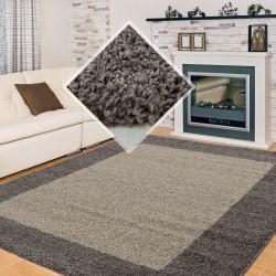 Wohnzimmer Teppich Hochflor Langflor  Shaggy  2 Farbig Florhöhe 3cm Taupe Mocca