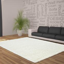 Hochflor Langflor Wohnzimmer Shaggy Teppich Unifarbe Florhöhe 5cm Creme