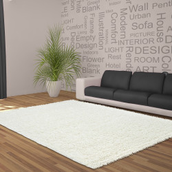 Structure à fibres longues Salon Shaggy Tapis Unifarbe 5cm hauteur de la pile de la Crème