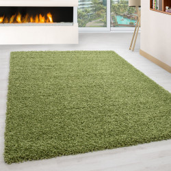 Living room rug, high pile, long pile, Shaggy pile height 3cm, solid green