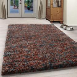 Wohnzimmer Shaggy Teppich Hochwertig Langflor Hochflor Terra Blau Beige Meliert