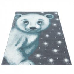 Children's carpet Children's room carpet 3D motif polar bear blue