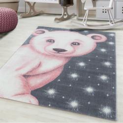 Children's carpet Children's room carpet 3D motif polar bear pink