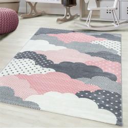 Kinderteppich Kinderzimmerteppich 3D Wolken Motiv Pink Grau Weiß