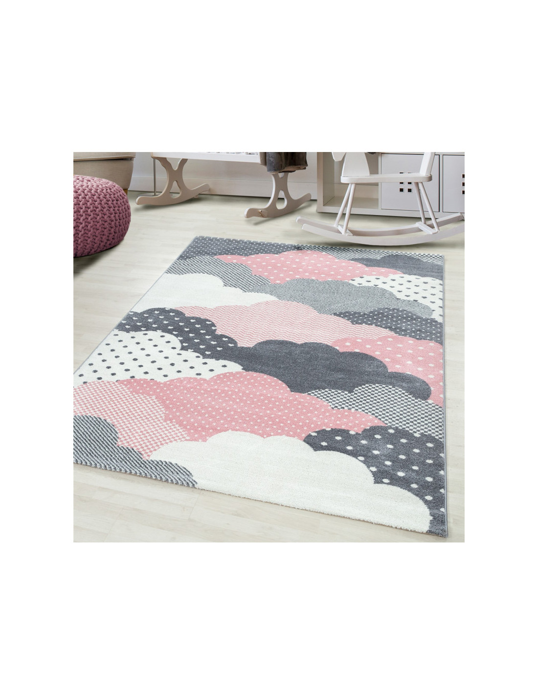 Children's carpet Children's room carpet 3D clouds motif pink gray white