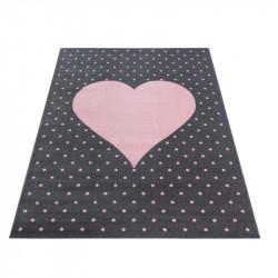 Children's carpet Children's room carpet 3D heart motif pink gray