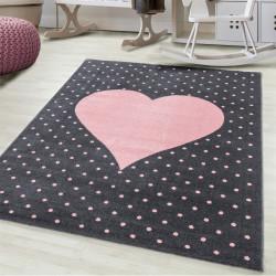 Kinderteppich Kinderzimmerteppich 3D Herz Motiv Pink Grau