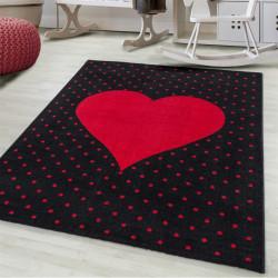 Children's carpet Children's room carpet 3D heart motif Roth-Antrazit