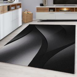 Designer Tiener Slaapkamer Tapijt Wave Design Zwart