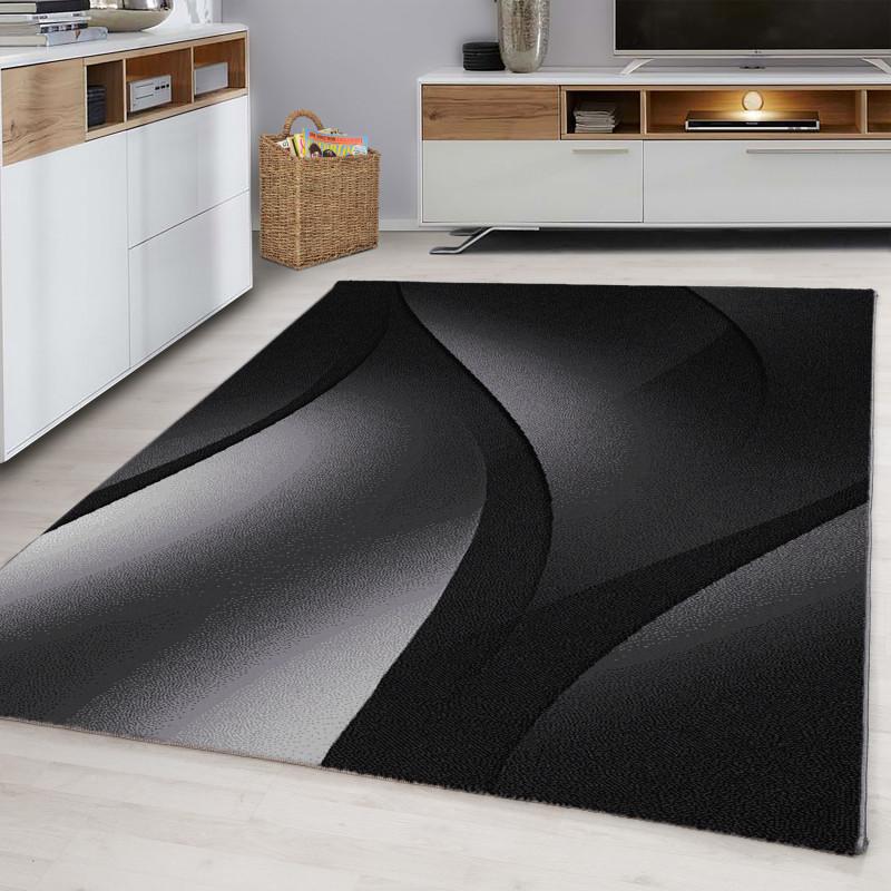 Diseñador Dormitorio Alfombra Wellenmotiv Black