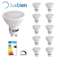 Gu10 Bombilla LED blanco cálido 5 w, 3000K 400lm Regulable LUXBIEN 10 [Clase de eficiencia energética A+
