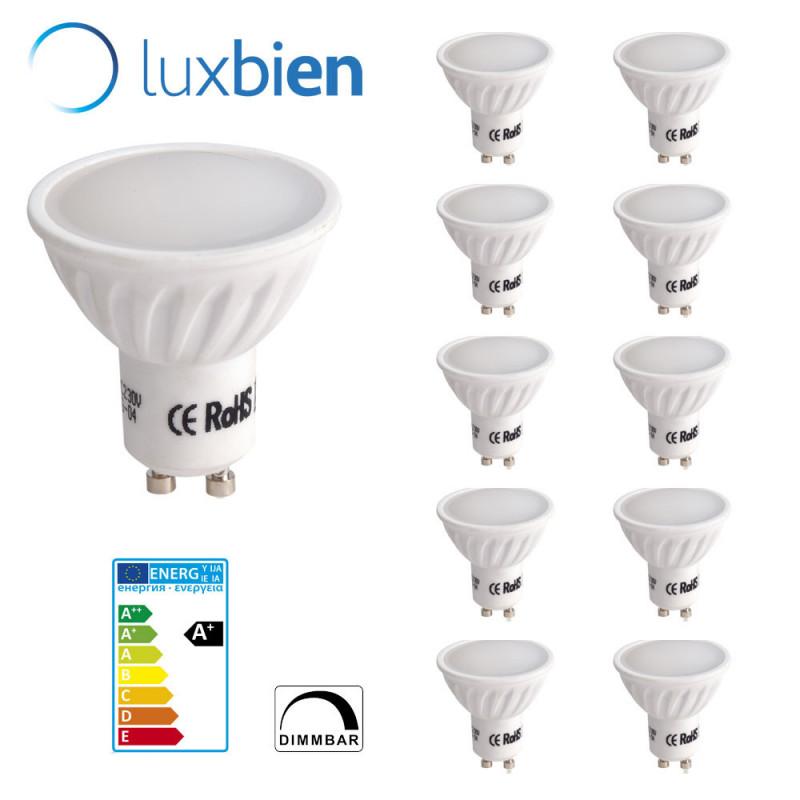 Gu10 LED Lámpara Reemplaza Halógena de 50W blanco cálido 2700-3000K 500lm Regulable LUOKOED® paquete de 10 [Clase de eficiencia