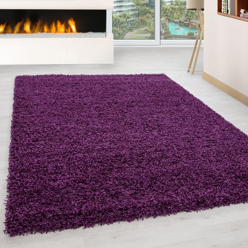 Fibres longues Hirsute Salon Shaggy Tapis de Parement 3cm unifarbe Violet