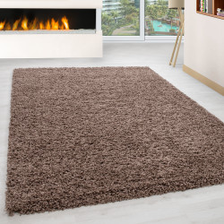 Shaggy pile living room Shaggy carpet pile height 3cm solid color Mocca