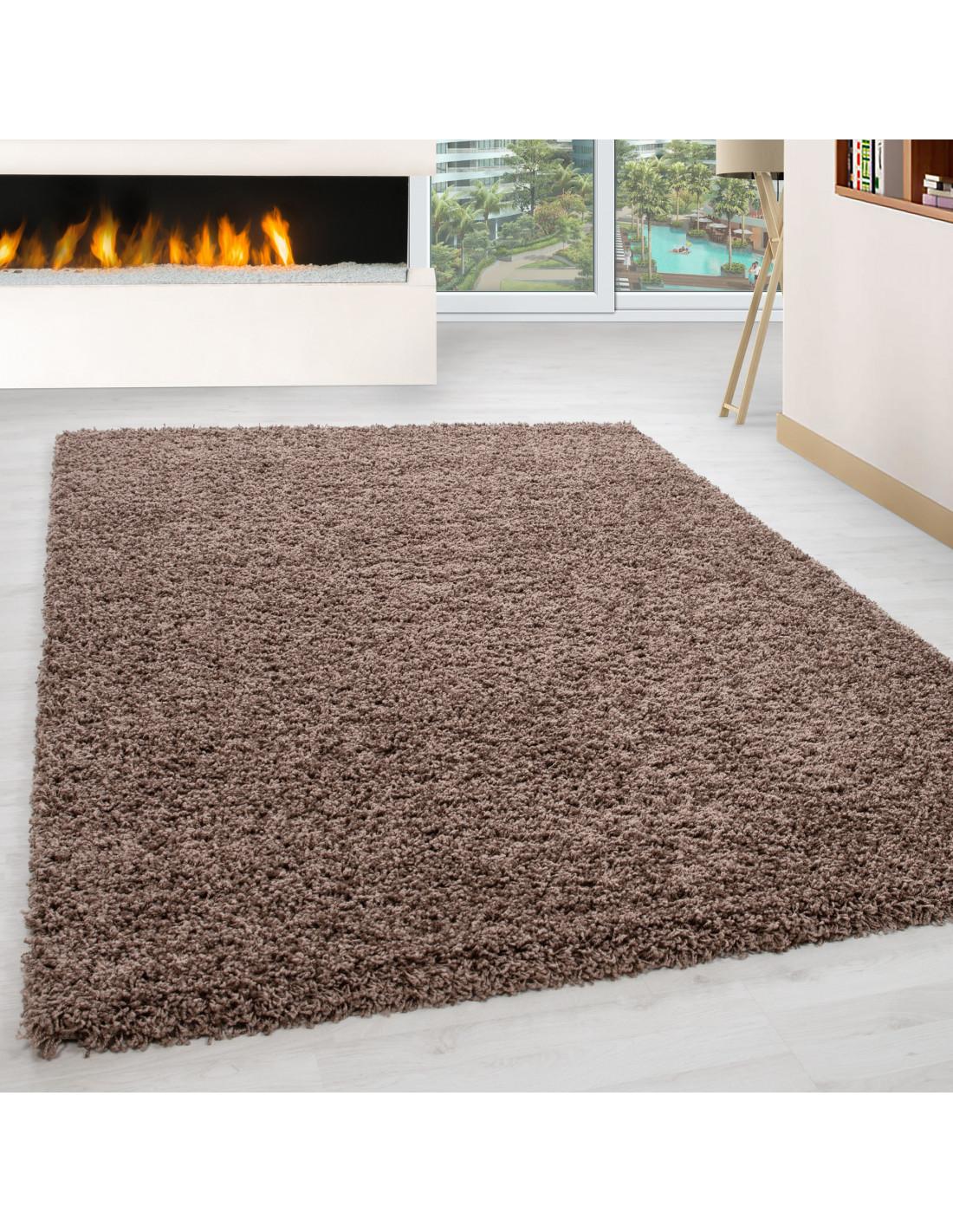 Shaggy carpet, pile height 3cm, plain color mocca