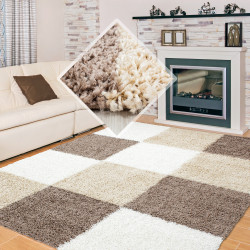 Shaggy pile living room Shaggy carpet brown White plaid Beige