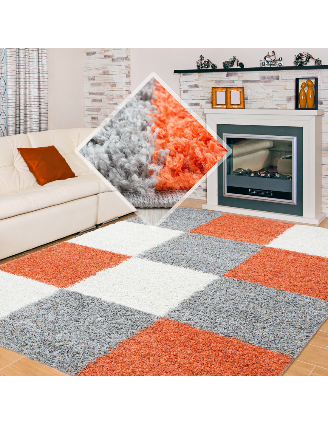 Shaggy carpet checkered terracotta white gray