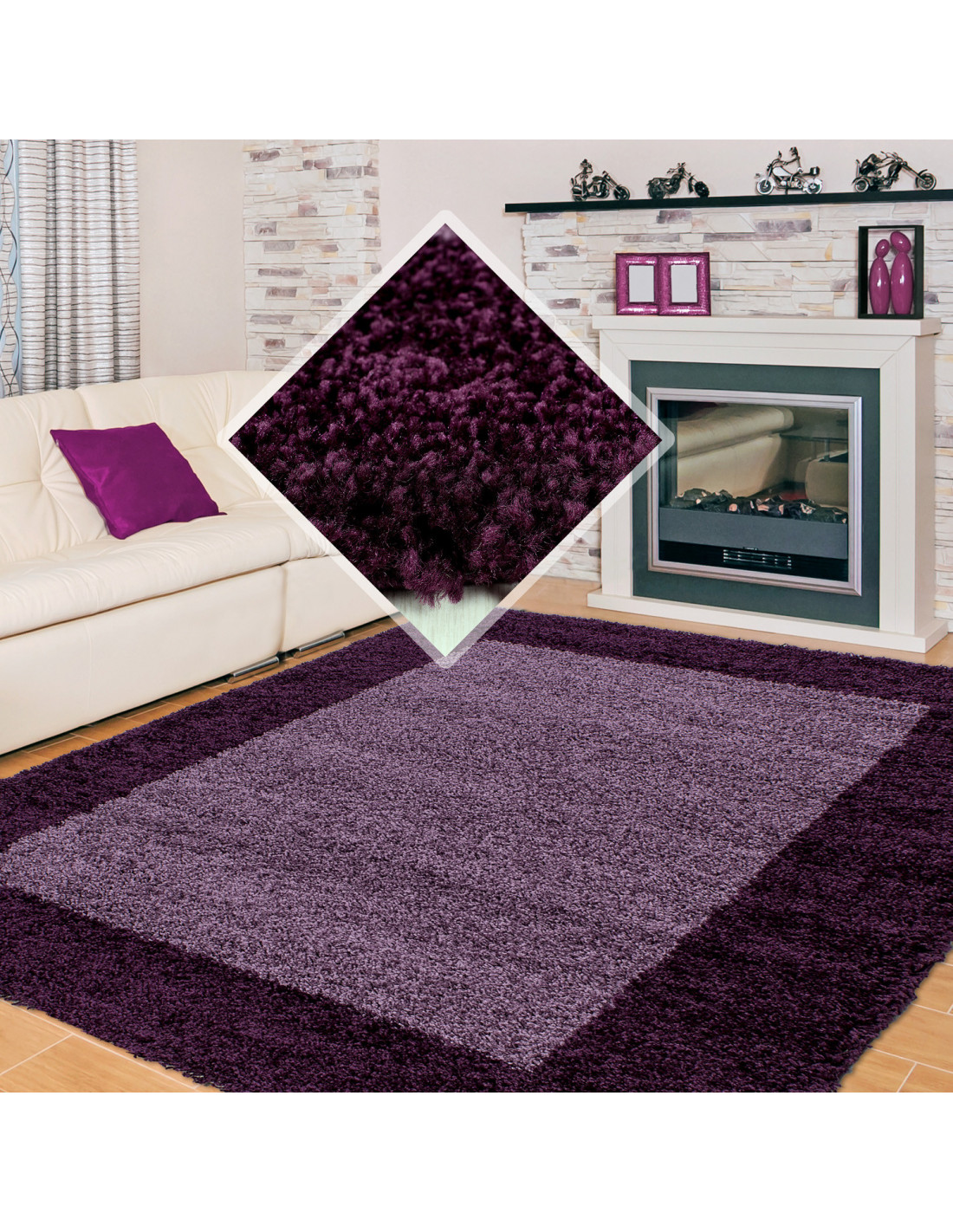 Shaggy Carpet Shaggy Carpet 2 Colors Pile Height 3cm Purple Violet