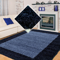 Langflor Hochflor Wohnzimmer Shaggy Teppich 2 Farbig Florhöhe 3cm Navy Blau