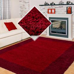 Hochflor Langflor Wohnzimmer Shaggy Teppich 2 Farbig Rot und Bordeaux