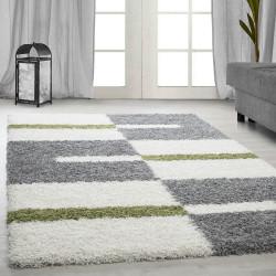 Hoge stapel shaggy woonkamer Shaggy tapijt poolhoogte 3 cm-grijs-Wit-Groen