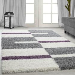 Fibres longues Hirsute Salon Shaggy Tapis de Parement 3cm Gris-Blanc-Violet