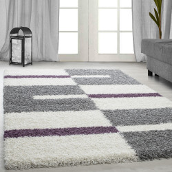 Hoge stapel shaggy woonkamer Shaggy tapijt poolhoogte 3 cm-grijs-Wit-Paars