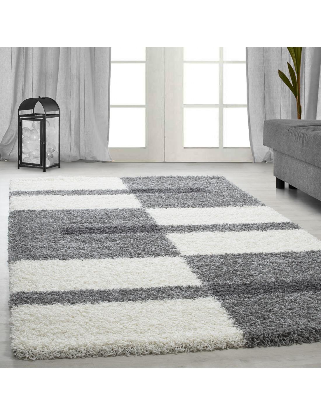 Shaggy carpet pile height 3cm gray-white-light gray