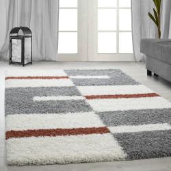 Hoge stapel shaggy woonkamer Shaggy tapijt poolhoogte 3 cm-grijs-Wit-terracotta