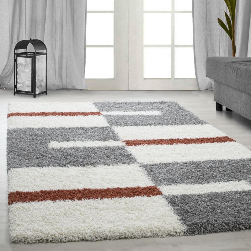 Shaggy pile living room Shaggy carpet pile height 3cm-grey-White-terracotta