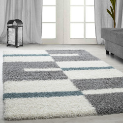 Hoge stapel shaggy woonkamer Shaggy tapijt poolhoogte 3 cm-grijs-Wit-turquoise