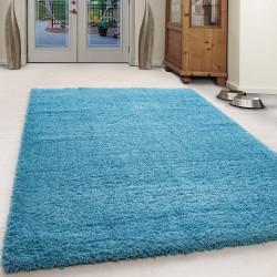 Hochflor Langflor Wohnzimmer Teppich Unifarbe Turkis