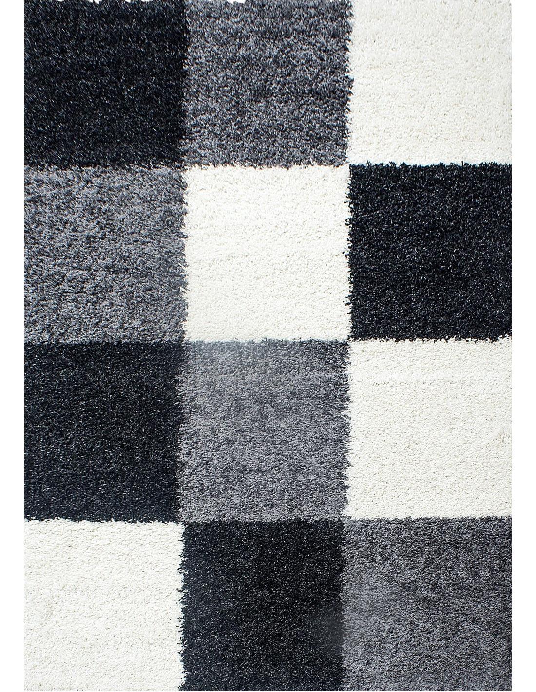 hochflor langflor wohnzimmer shaggy teppich kariert schwarz weiss grau. Black Bedroom Furniture Sets. Home Design Ideas