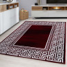 Designer living room youth room rug with block pattern checkered Black-Red