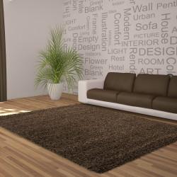Structure à fibres longues Salon Shaggy Tapis Unifarbe hauteur de poil Brun 5cm