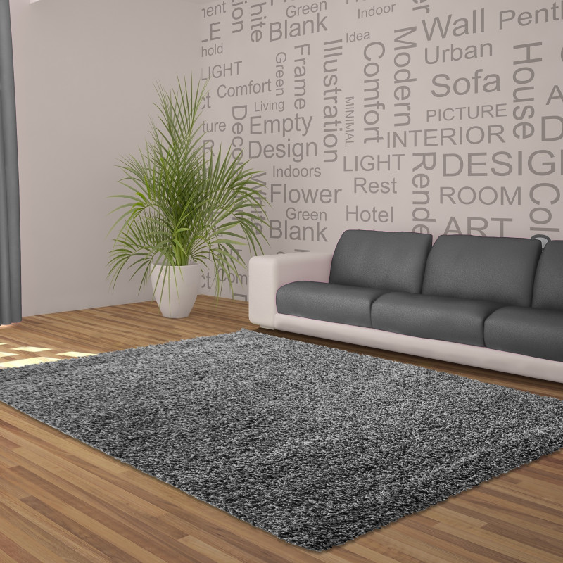 Shaggy pile living room DREAM Shaggy carpet, solid color pile height 5cm grey