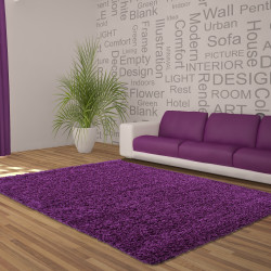 Shaggy, pelo largo Salón DREAM Alfombra Shaggy Unifarbe 5cm altura del hilo de color Púrpura