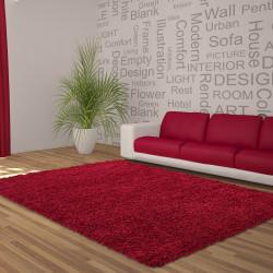 Hochflor Langflor Wohnzimmer DREAM Shaggy Teppich Unifarbe Florhöhe 5cm Rot