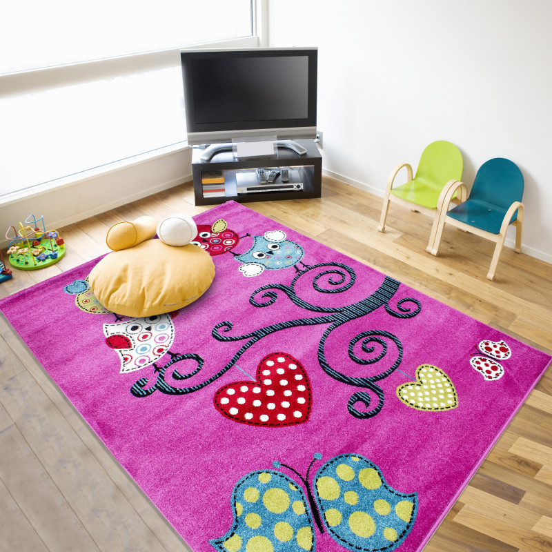 Children's carpet, kids room carpet with motifs of tree and butterfly Kids 0420 Purple