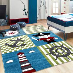 Kinderteppich Kinderzimmer Teppich mit motiven Piratenschiff Kids 0450 Multi