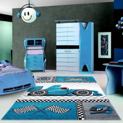 Kinderteppich Guardería Alfombra con motivos de los coches de Fórmula 1 Kids 0460 Azul