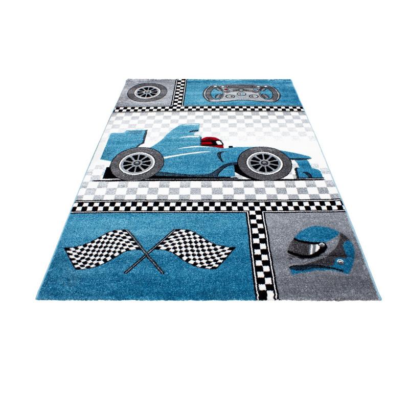 Kinderteppich Kinderzimmer Teppich mit motiven Formel 1 Rennwagen Kids 0460  Blau
