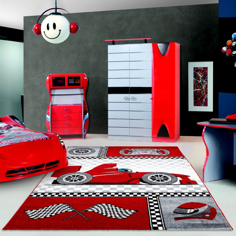Children's carpet, kids room carpet with motifs of a formula 1 racing car Kids 0460 Red