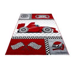Children's carpet, kids room carpet with motifs of a formula 1 racing car Kids 0460 Red