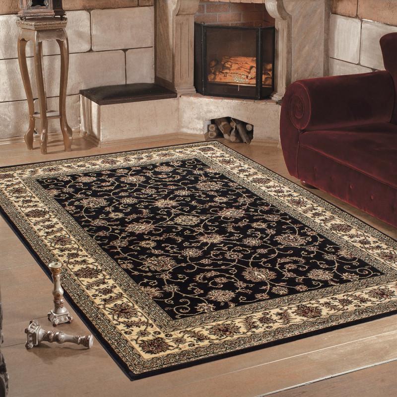 klassischer orientalischer wohnzimmer teppich marrakesh 0210 schwarz. Black Bedroom Furniture Sets. Home Design Ideas
