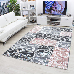 Moderne, Paillettes Salon Tapis Toscana 3130 Rose