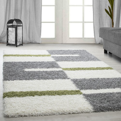 Shaggy pile living room Shaggy carpet pile height 3cm-grey-White-Green