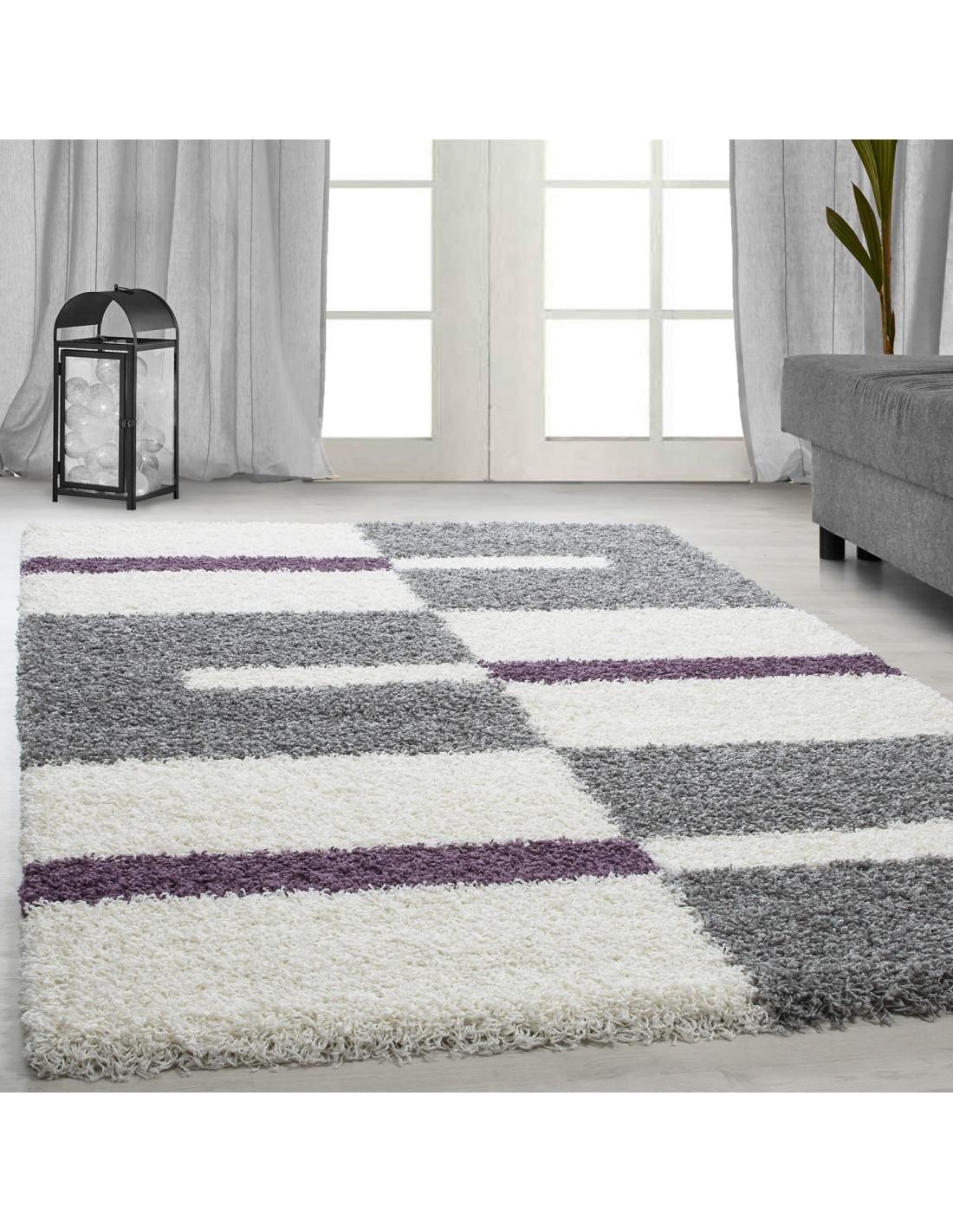 Shaggy carpet, pile height 3cm, gray-white-purple
