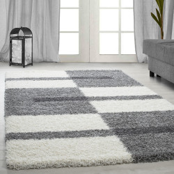 Shaggy pile living room Shaggy carpet pile height 3cm-grey-White-light grey